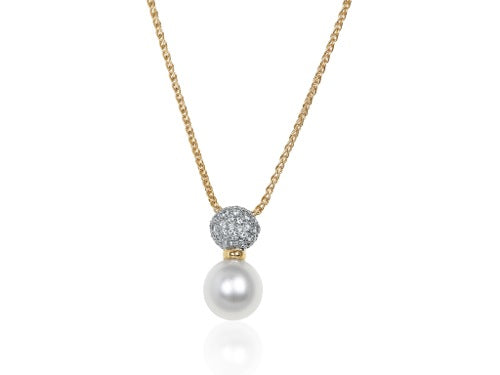 18 kt 11-12mm South Sea Pearl and Diamond Pendant