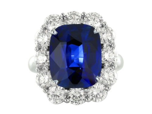 Plat 7.15ct No Heat Sapphire and diamond Ring