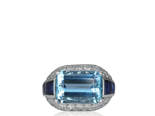 6.95ct Aquamarine Ring, signed Oscar Heyman