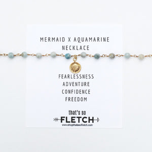 Mermaid Aquamarine Charm Necklace - Fearlessness - Adventure - Confidence - Freedom