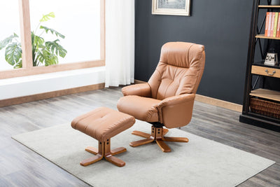 Dubai Tan Plush Leather Swivel Recliner Chair with Matching Footstool