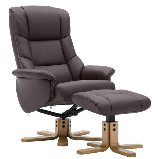 The Florence, Swivel Recliner Chair & Matching Footstool in Brown Plush Fabric