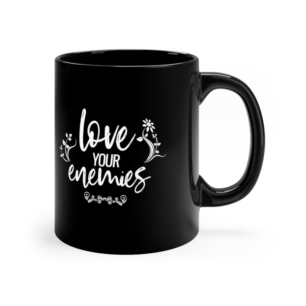 Love Your Enemies Black mug 11oz