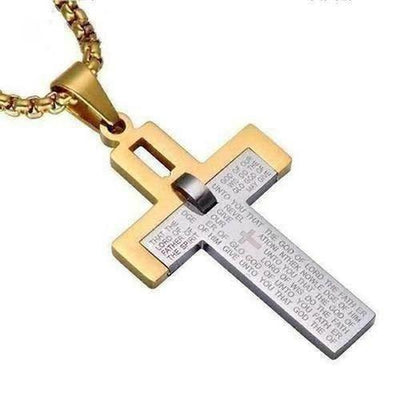 Two Tone Bible Cross Pendant Necklace - The Divine Bazaar