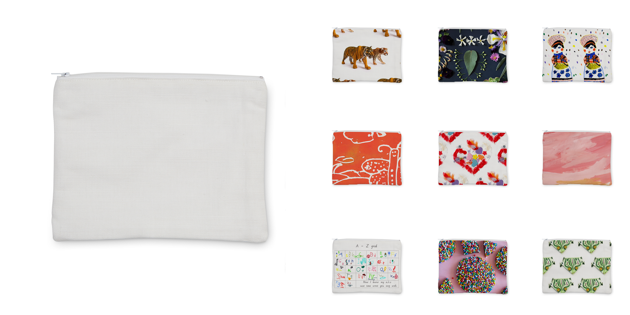 Zip Pouch 14x10 with designs