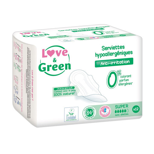LOVE AND GREEN - 12 Serviettes super hypoallergéniques 0%