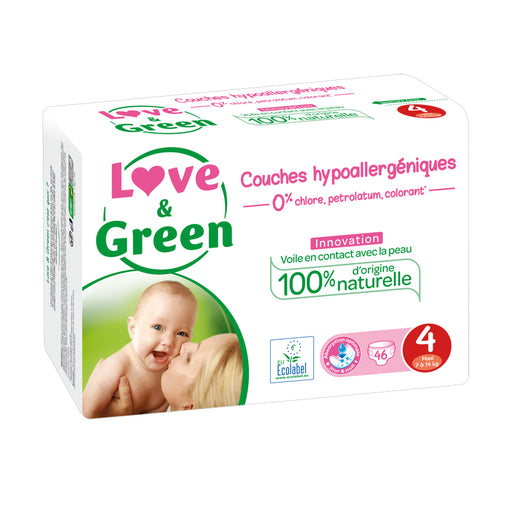 LOVE AND GREEN - Pack Jumbo Couches jetables hypoallergéniques T4 Maxi - 7-14 kg