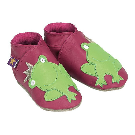 Chaussons cuir souple - Frog Fuschia