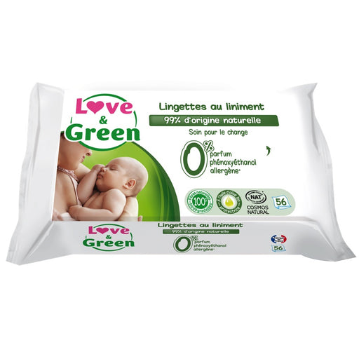 Love and Green - 56 Lingettes au liniment hypoallergéniques