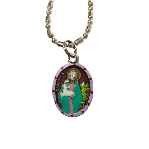 Saint Agnes Medal - Hand-Painted on Italian Silver by Saints For Sinners