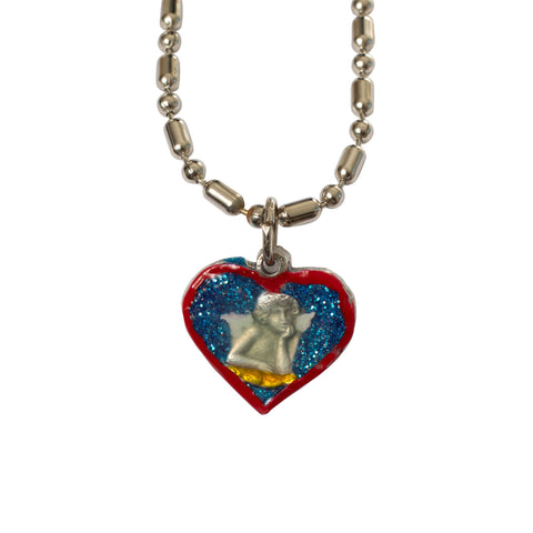 Guardian Angel Cherub Heart Medal - Hand-Painted on imported Italian Silver by Saints For Sinners