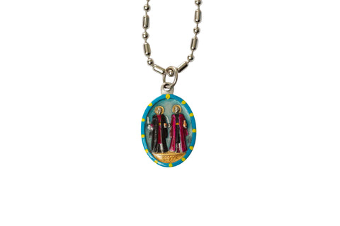 Saint Cosmas & Damian Miraculous Medal - Hand-Painted on Italian Silver by Saints For Sinners