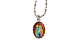Holy Family Miraculous Medal Necklace - Hand-painted on Italian Silver by Saints For Sinners