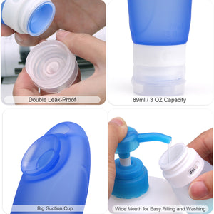 Travel Bottles TSA Approved, Leakproof Silicone Refillable Travel Containers, 3 oz Squeezable Travel Tube Sets for Toiletries, Shampoo, Conditioner, Lotion(4 Bottles and 1 Toiletry Bag)