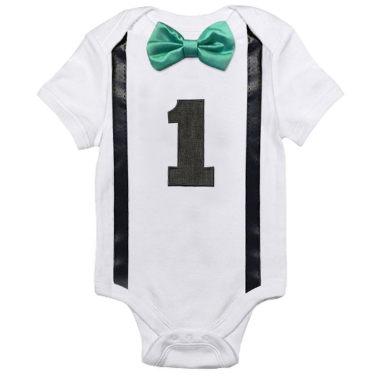 Boys '1' Romper with Green Bow Tie