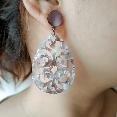 Heart Flower Shape Drop Earrings-Accessories-The Poetic Soul
