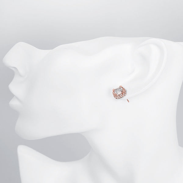 White Topaz Diamond Simulated Studs 18K Rose Gold-Accessories-The Poetic Soul