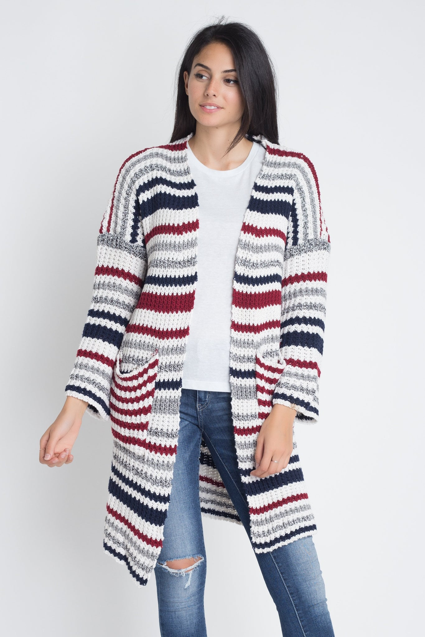Multi-Color Stripe Knit Cardigan-sweater-The Poetic Soul