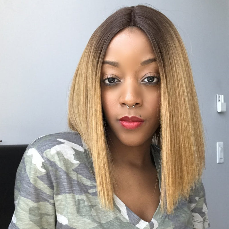 Peruvian Hair Blond With Brown Root Color Straight Lace Front Bob Wig