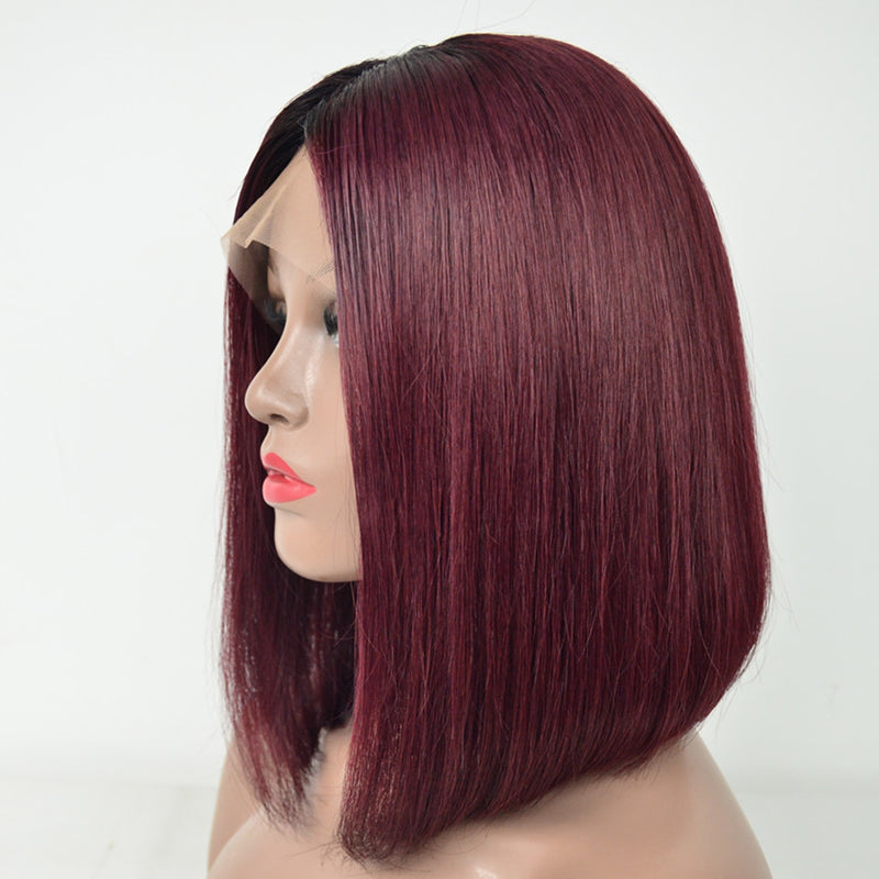 Peruvian Hair Burgundy With Black Root Color Bob Wig Straight