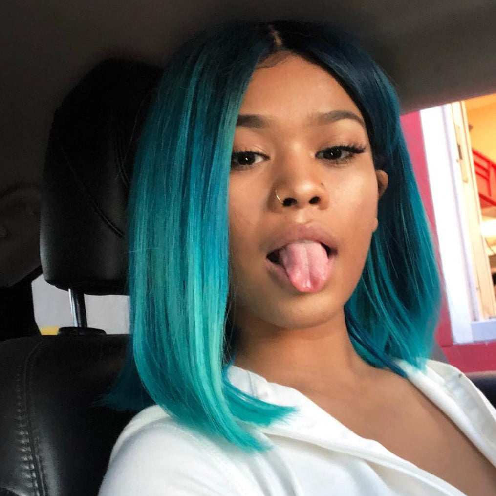 Peruvian Hair Blue With Black Root Color Straight Lace Front Bob Wig