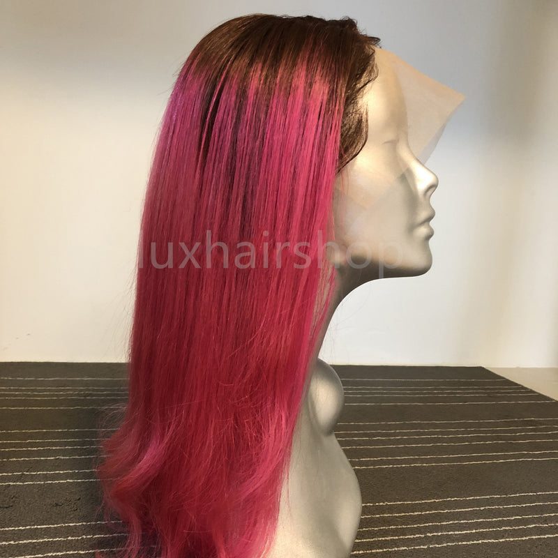 Peruvian Hair Pink With Black Root Color Fashion Wavy Long Hair Full Lace Wig