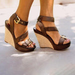 Wedge-heel Buckle Sandals