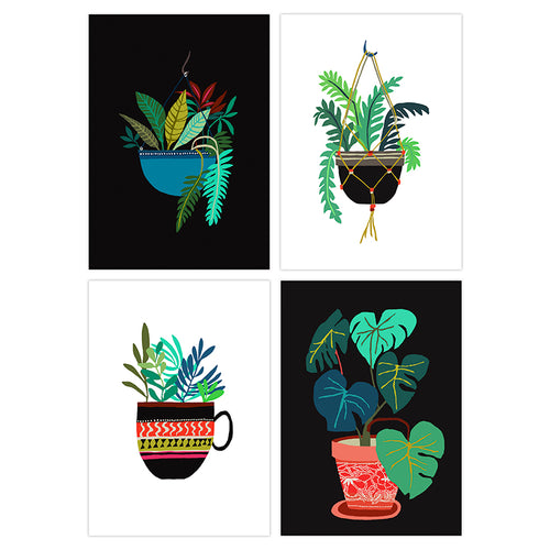 Brie Harrison pot plant postcard series fern leaf print made in England for Modern Craft