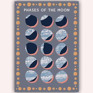 Moon Phase A4 print handmade in England by Hannah Roe Hanroe Makes for Modern Craft
