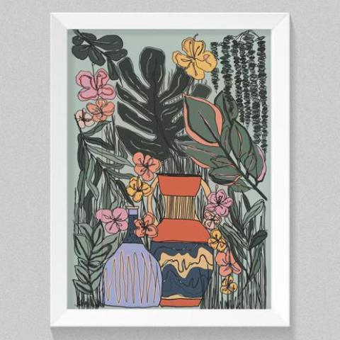 Plant Scene botanical A4 print handmade in England by Hannah Roe Hanroe Makes for Modern Craft