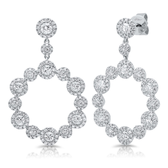 Diamond Halo Circle Dangle Earrings