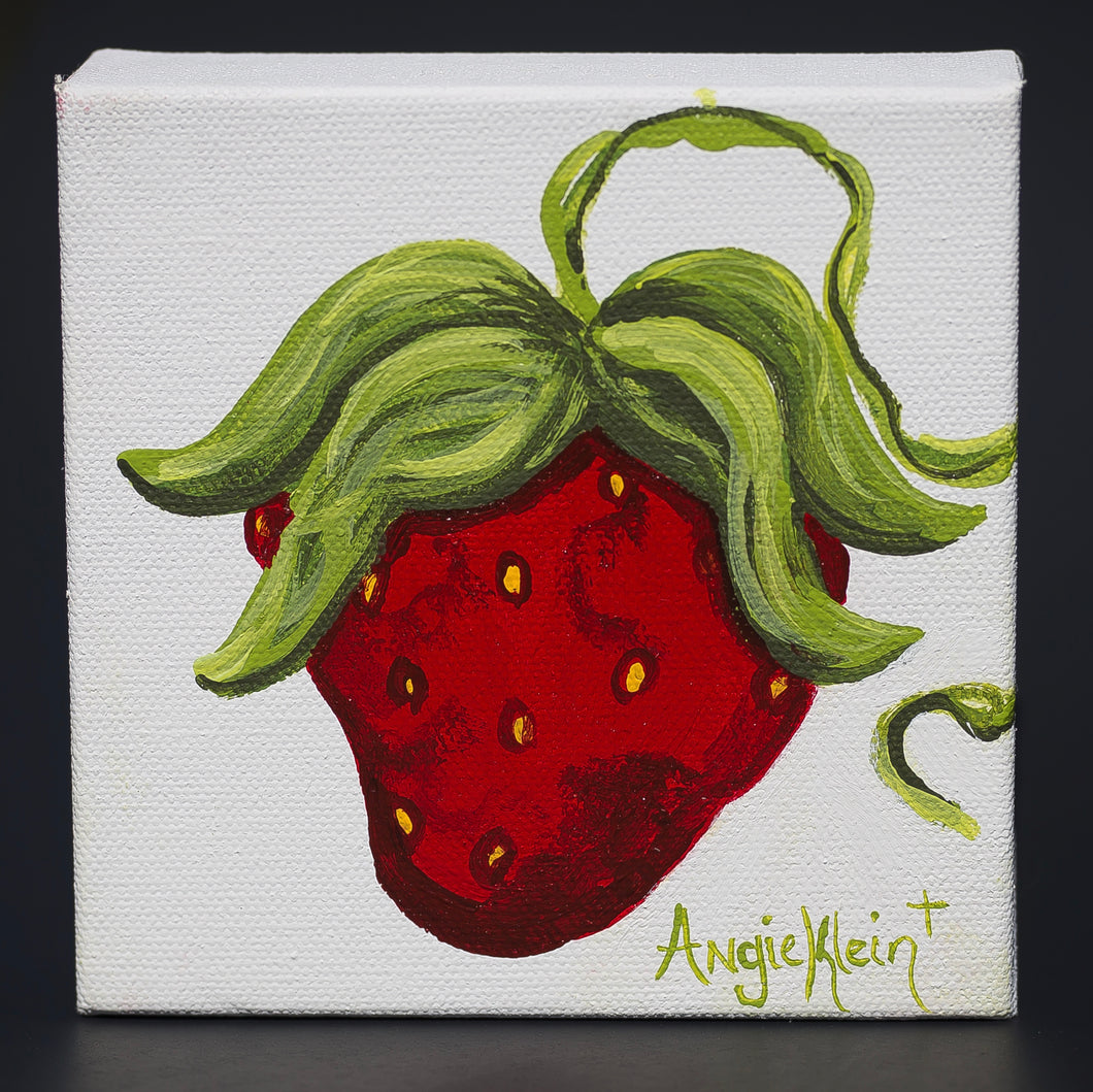 Small Sassy Strawberry on Canvas