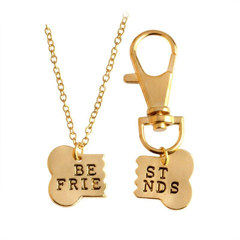 Dog Bone Best Friends Necklace and Keychain