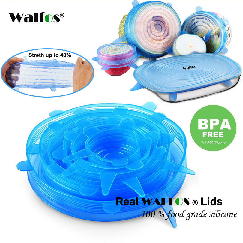 WALFOS Silicon stretch lids 6 Pieces/Sizes