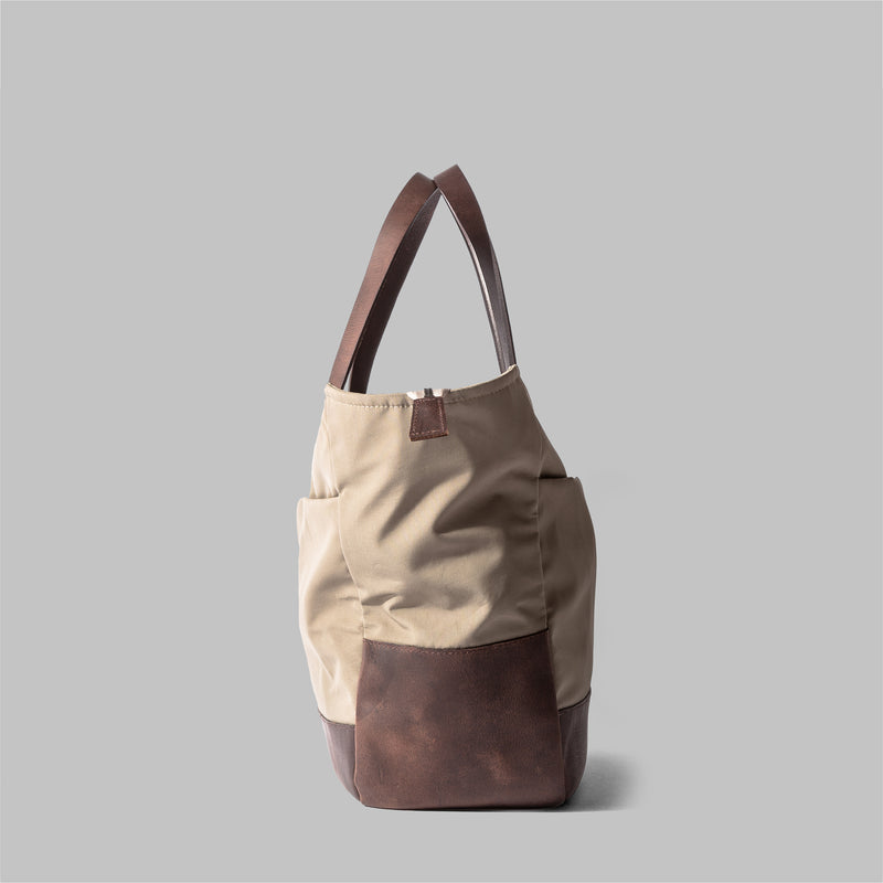 Appdale | Ladies large beige nylon & leather tote bag | Thorndale