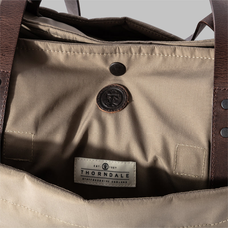 Appdale | Ladies large nylon & leather tote bag | Thorndale