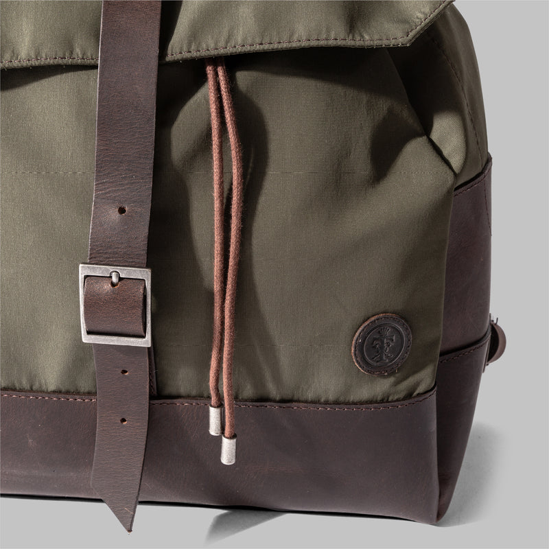 Weston | Womens Olive Green Nylon & Leather Rucksack