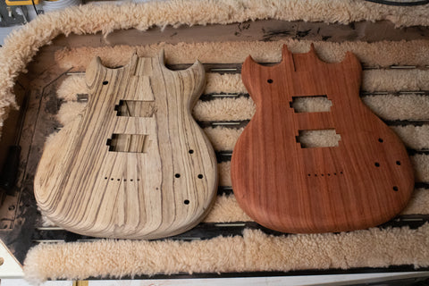 Zebrawood and paduak guitar unfinished guitar bodies