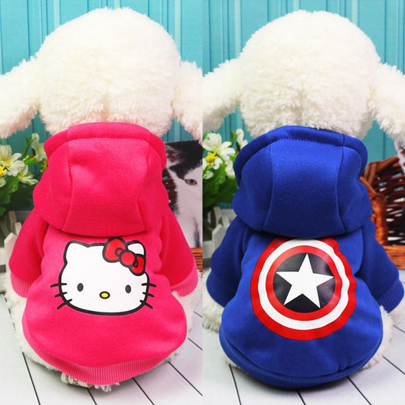 Two color red and blue cats with hoodie sweaters with cat head prints for autumn and winter coats for medium-sized dogs size XXL