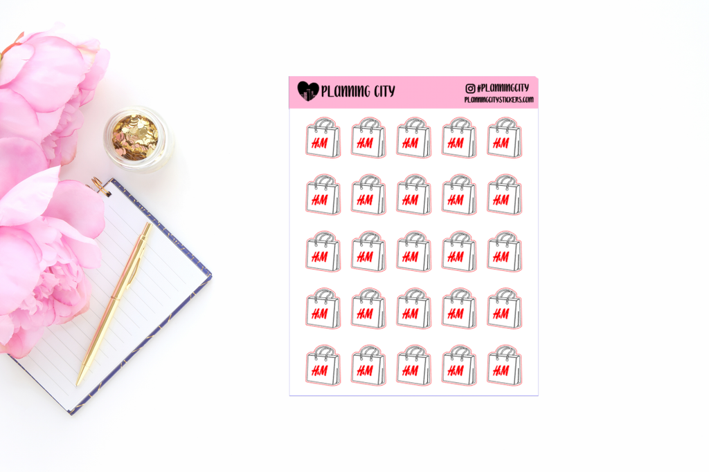 H&M Shopping Bag Functional Planner Stickers