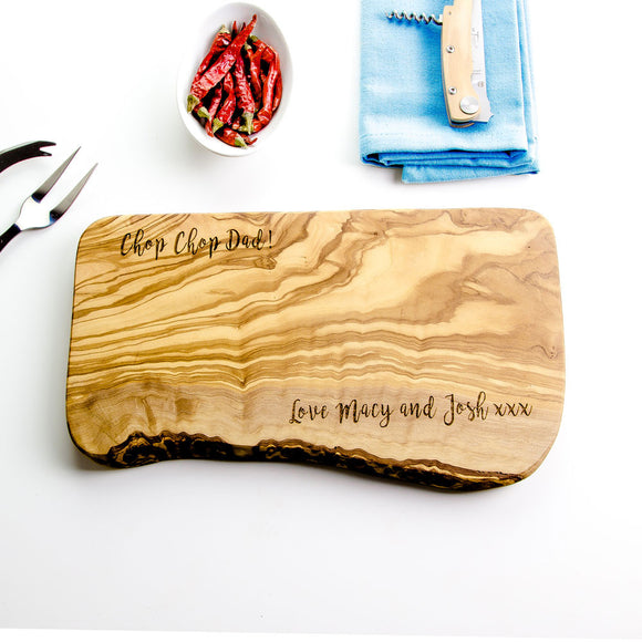 Personalised Rustic Olive Wood Cheese Board