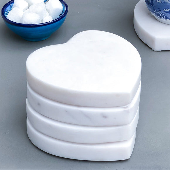 Set of 4 Marble Heart-Shaped Coasters