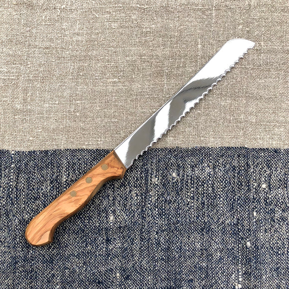 Italian Crafted Bread Knife - Olive Wood Handle