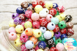 Acrylic Multi Color Cross Round Beads 100 ct