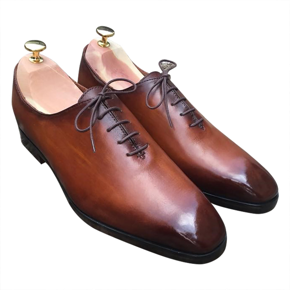Classic brown leather shoes for men