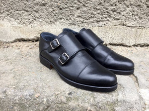 Black Leather Double Monk Shoes