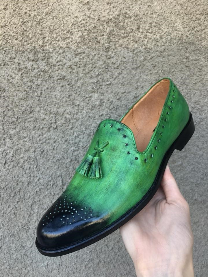 Electric Green Leather Loafers