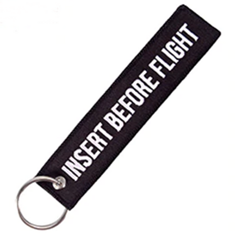 """INSERT BEFORE FLIGHT"" Black Key Tag"
