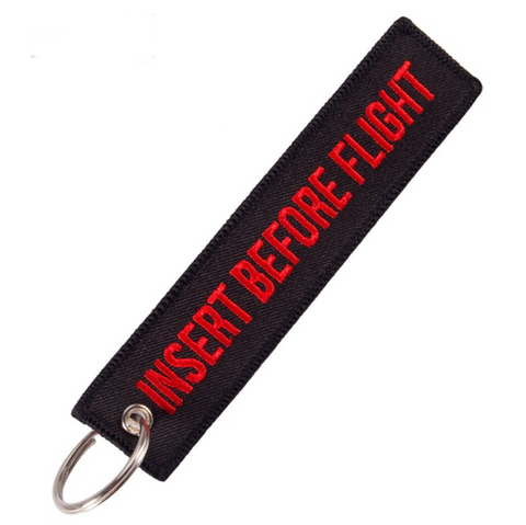 """INSERT BEFORE FLIGHT"" Black/Red Key Tag"