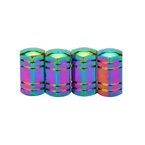 Neo Chrome Hex Tire Valve Stem Caps